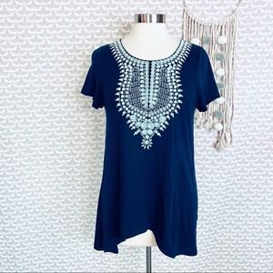 THML Anthropologie Embroidered Top T Shirt Blouse